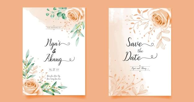 Conception florale de carte d & # 39; invitation de mariage avec tirage à la main
