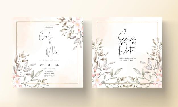 Conception florale de carte de mariage vintage