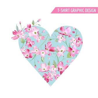 Conception florale de coeur de ressort avec des fleurs de fleur de cerisier pour le t-shirt, impressions de mode