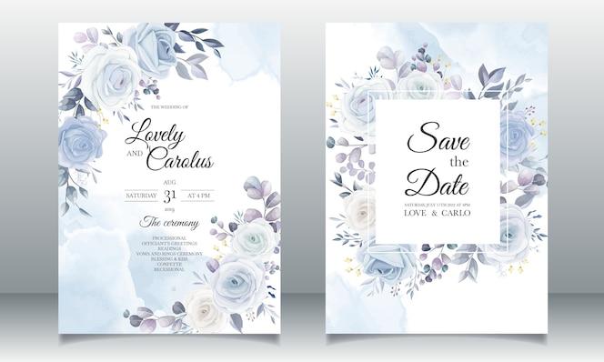 Conception florale d'invitation de mariage dessin main élégante