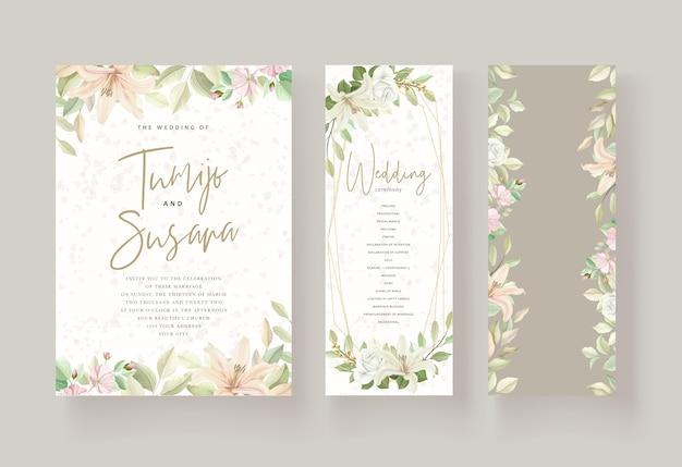 Conception florale de modèle de carte de mariage