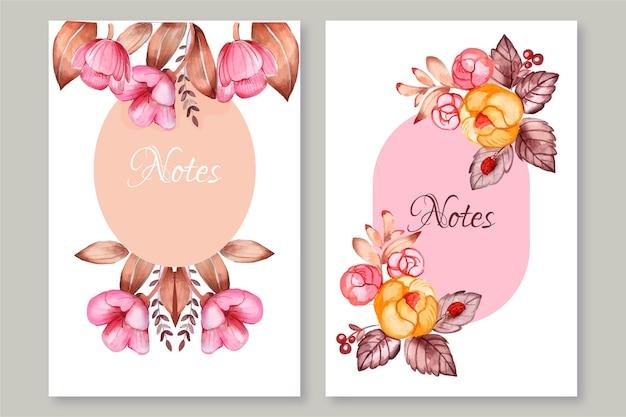 Conception florale de note colorée dessinée à la main