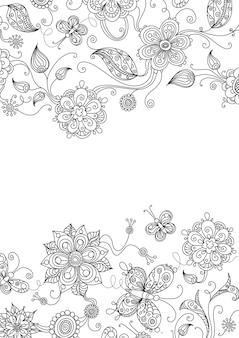 Conception Florale Ornée Vecteur Premium