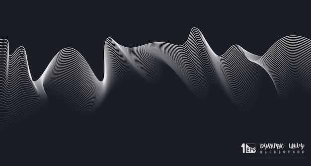 Conception fluide abstraite de ligne blanche dynamique ondulée sur fond bleu foncé.