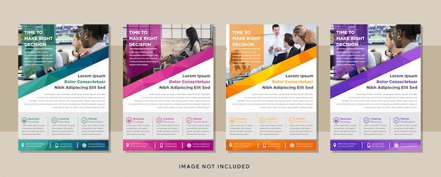 Conception de flyer d'affaires moderne à disposition verticale avec motif polygonal en utilisant les couleurs bleu, rose, violet, orange et vert