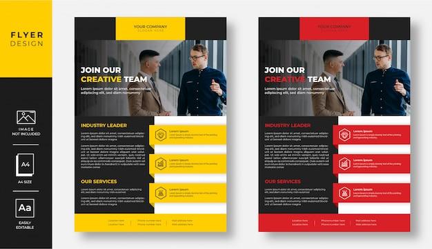 Conception de flyer d'affaires moderne jaune et rouge