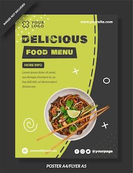 Conception de flyer d'affiche de menu de délicieux plats premium