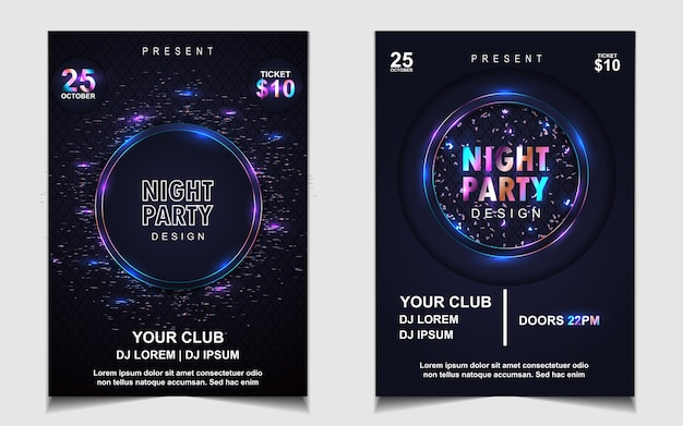 Conception de flyer ou d'affiche de musique de soirée dansante colorée