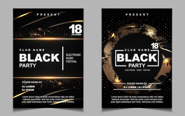 Conception de flyer ou affiche de musique de soirée de danse noir et or