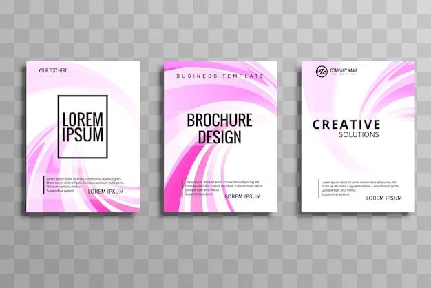 Conception de flyer brochure abstrait vague rose créatif