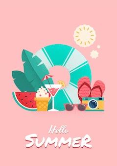 Conception de flyer coloré de l'heure d'été. illustration vectorielle.