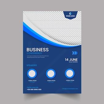 Conception de flyer de conférence d'affaires avec espace de copie sur fond bleu et png.