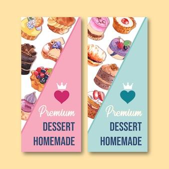 Conception de flyer dessert avec cupcake, tarte aquarelle, illustration isolée colorée créative.