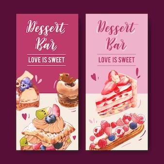 Conception de flyer dessert avec gâteau aux fraises, gâteau feuilleté, illustration aquarelle de beignet.