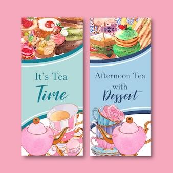 Conception de flyer dessert avec macarons, théière, illustration isolée de cupcake aquarelle.