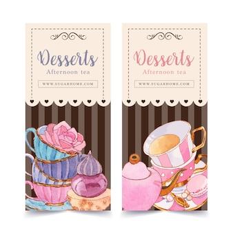 Conception de flyer dessert avec théière, cupcake, illustration aquarelle élément créatif.