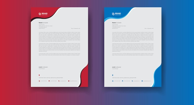 Conception de flyer d'entreprise et conception de modèle de papier à en-tête d'entreprise