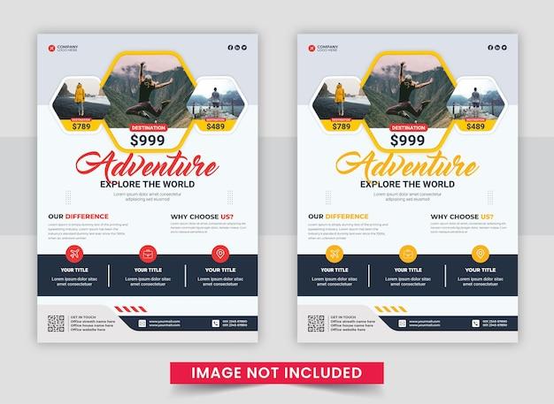 Conception de flyer d'entreprise ou modèle de page de couverture de brochure pour agence de voyages