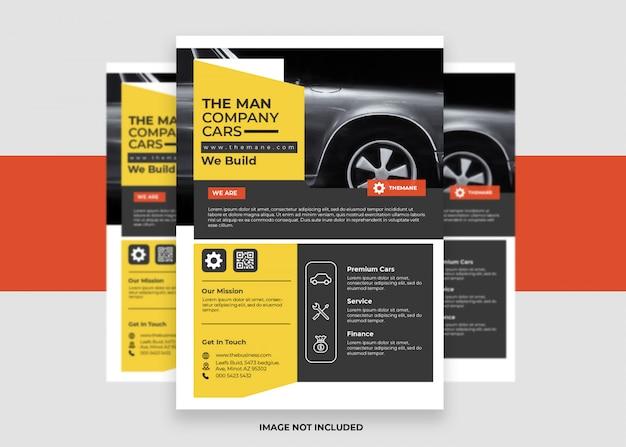 Conception de flyer d'entreprise de présentation de concessionnaire de voitures colorées