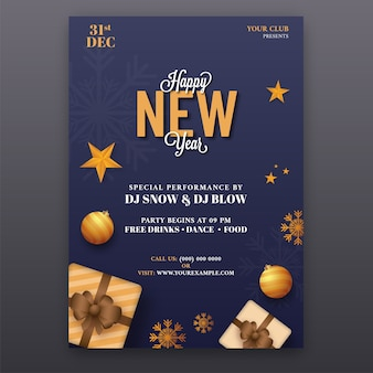 Conception de flyer de fête de bonne année en couleur bleue avec les détails de l'événement