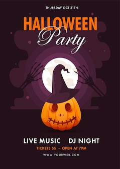 Conception de flyer de fête d'halloween avec jackolantern et citrouille