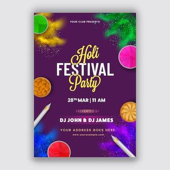 Conception de flyer de fête holi festival en couleur pourpre avec vue de dessus des bonbons indiens, des pistolets de couleur et des bols à poudre (gulal).