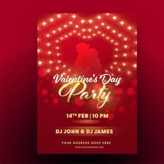 Conception de flyer de fête de la saint-valentin avec un couple de silhouette en couleur rouge et or.