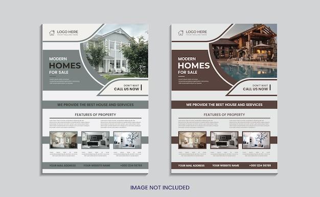 Conception de flyer de forme simple de vente immobilière à domicile.