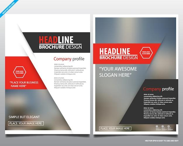 Conception de flyer géométrique rouge couverture business brochure vecteur