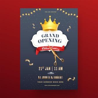 Conception de flyer de grande fête d'ouverture avec coupe de ruban et couronne