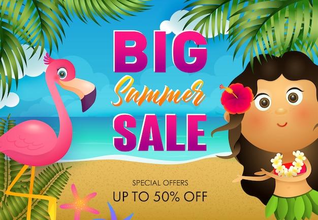 Conception de flyer grande vente d'été. flamingo et fille hawaïenne