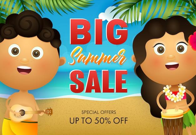 Conception de flyer grande vente d'été. hawaiian garçon et fille jouant du tambour
