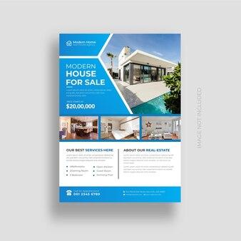 Conception de flyer immobilier et maison élégante à vendre modèle de conception vecteur premium