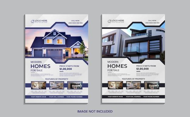 Conception de flyer immobilier maison à vendre avec une forme et des données minimales.