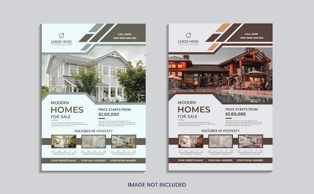 Conception de flyer immobilier maison à vendre avec des formes créatives minimales.