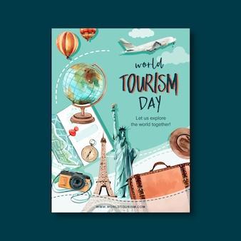 Conception de flyer de journée touristique avec globe, appareil photo, sac, chapeau, carte