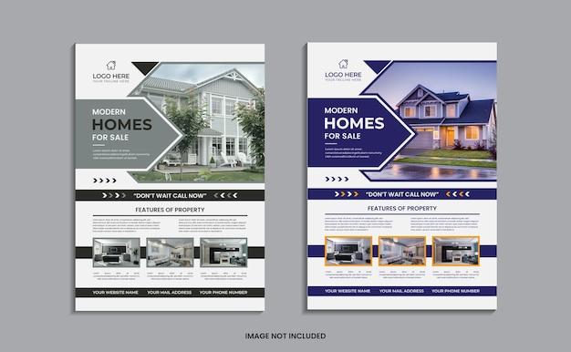 Conception de flyer de maison moderne à vendre sur un fond propre avec des formes abstraites.