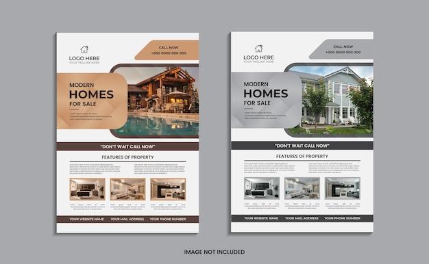 Conception de flyer de maison moderne à vendre sur un fond propre.