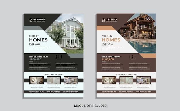 Conception de flyer de maison à vendre avec des formes et des données abstraites.
