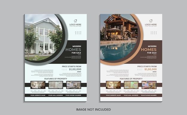 Conception de flyer de maison à vendre avec des formes rondes et des données.