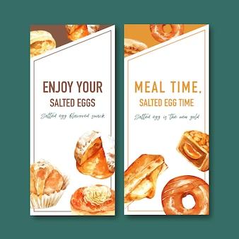 Conception de flyer d'oeuf salé avec beignet, illustration aquarelle de pain farci.