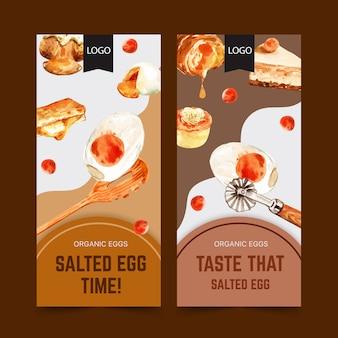 Conception de flyer d'oeuf salé avec gâteau, cuillère, illustration aquarelle de pain farci.