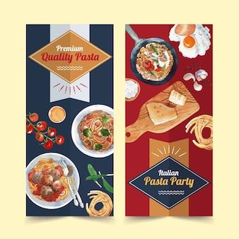 Conception de flyer de pâtes avec pâtes, fromage, illustration aquarelle de tomate.