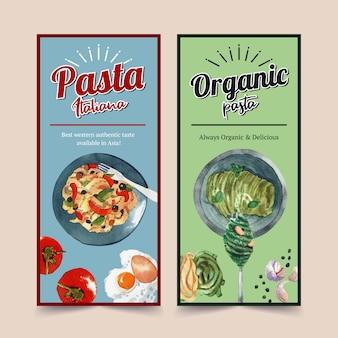 Conception de flyer de pâtes avec pâtes, oeuf, illustration aquarelle de tomate.