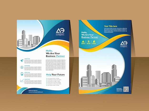 Conception de flyer de présentation pour événement et rapport d'entreprise