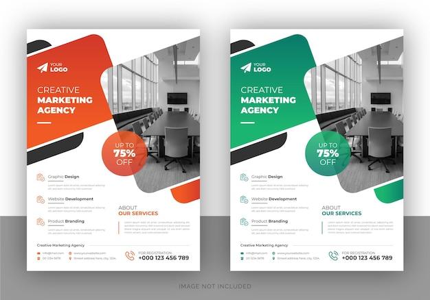Conception de flyer promotionnel marketing créatif et modèle de page de garde
