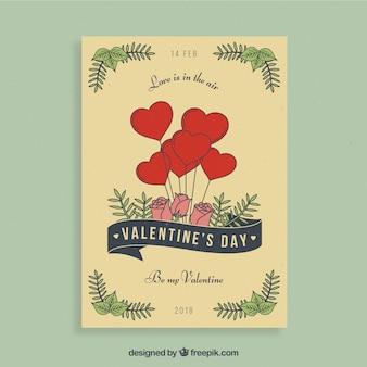 Conception de flyer saint-valentin avec coeurs et roses