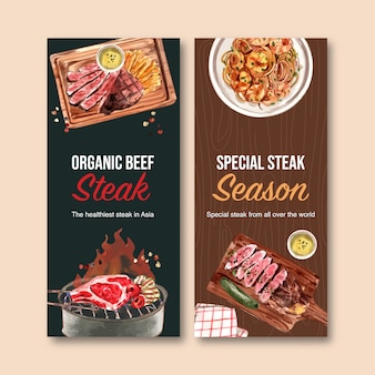 Conception de flyer de steak avec poêle grill, spaghetti, illustration aquarelle de steak.
