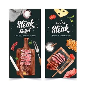 Conception de flyer de steak avec steak, fromage, illustration aquarelle de tomate.
