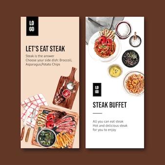 Conception de flyer de steak avec steak, illustration aquarelle de spaghetti.